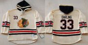 Wholesale Cheap Blackhawks #33 Scott Darling Cream Heavyweight Pullover Hoodie Stitched NHL Jersey
