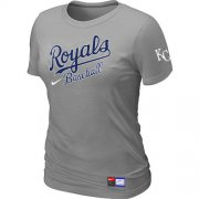 Wholesale Cheap Women's MLB Kansas City Royals Light Grey Nike Short Sleeve Practice T-Shirt