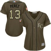 Wholesale Cheap Royals #13 Salvador Perez Green Salute to Service Women's Stitched MLB Jersey