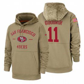 Wholesale Cheap San Francisco 49ers #11 Marquise Goodwin Nike Tan 2019 Salute To Service Name & Number Sideline Therma Pullover Hoodie