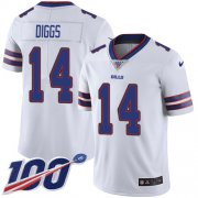 Wholesale Cheap Nike Bills #14 Stefon Diggs White Men's Stitched NFL 100th Season Vapor Untouchable Limited Jersey