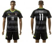 Wholesale Cheap Wales #11 Giggs Black Away Soccer Country Jersey