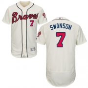 Wholesale Cheap Braves #7 Dansby Swanson Cream Flexbase Authentic Collection Stitched MLB Jersey