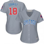 Wholesale Cheap Cubs #18 Ben Zobrist Grey Road Women's Stitched MLB Jersey
