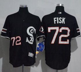 Wholesale Cheap White Sox #72 Carlton Fisk Black New Flexbase Authentic Collection Stitched MLB Jersey