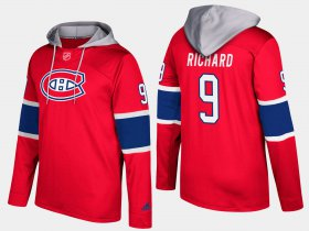 Wholesale Cheap Canadiens #9 Maurice Richard Red Name And Number Hoodie