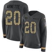 Wholesale Cheap Nike Raiders #20 Damon Arnette Anthracite Salute to Service Women's Stitched NFL Limited Therma Long Sleeve Jersey