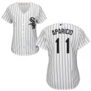 Wholesale Cheap White Sox #11 Luis Aparicio White(Black Strip) Home Women's Stitched MLB Jersey