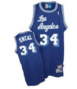 Wholesale Cheap Los Angeles Lakers #34 Shaquille O'neal Blue Swingman Throwback Jersey