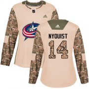 Wholesale Cheap Adidas Blue Jackets #14 Gustav Nyquist Camo Authentic 2017 Veterans Day Women's Stitched NHL Jersey