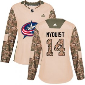 Wholesale Cheap Adidas Blue Jackets #14 Gustav Nyquist Camo Authentic 2017 Veterans Day Women\'s Stitched NHL Jersey