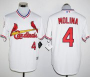 Wholesale Cheap Cardinals #4 Yadier Molina White New Cool Base Cooperstown Stitched MLB Jersey