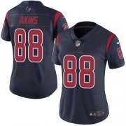Wholesale Cheap Nike Texans #88 Jordan Akins Navy Blue Women's Stitched NFL Limited Rush Jersey