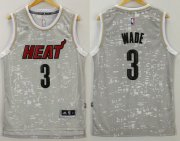 Wholesale Cheap Men's Miami Heat #3 Dwyane Wade Adidas 2015 Gray City Lights Swingman Jersey