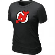 Wholesale Cheap Women's NHL New Jersey Devils Big & Tall Logo T-Shirt Black