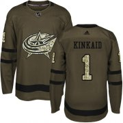 Wholesale Cheap Adidas Blue Jackets #1 Keith Kinkaid Green Salute To Service Stitched NHL Jersey