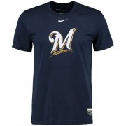 Wholesale Cheap Milwaukee Brewers Nike Authentic Collection Legend Logo 1.5 Performance T-Shirt Navy