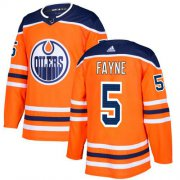 Wholesale Cheap Adidas Oilers #5 Mark Fayne Orange Home Authentic Stitched NHL Jersey