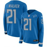 Wholesale Cheap Nike Lions #21 Tracy Walker Blue Team Color Women's Stitched NFL Limited Therma Long Sleeve Jersey