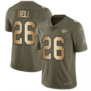 Wholesale Cheap Nike Chiefs #26 Le'Veon Bell Olive/Gold Men's Stitched NFL Limited 2017 Salute To Service Jersey
