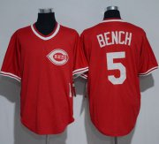 Wholesale Cheap Mitchell And Ness 1983 Reds #5 Johnny Bench Red Throwback Stitched MLB Jersey