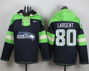 Wholesale Cheap Nike Seahawks #80 Steve Largent Steel Blue Player Pullover NFL Hoodie