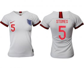 Wholesale Cheap Women\'s England #5 Stones Home Soccer Country Jersey