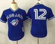 Wholesale Cheap Mitchell And Ness Blue Jays #12 Roberto Alomar Blue Throwback Stitched MLB Jersey