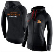 Wholesale Cheap Women's Nike Cincinnati Bengals Full-Zip Performance Hoodie Black