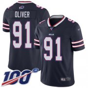 Wholesale Cheap Nike Bills #91 Ed Oliver Navy Men's Stitched NFL Limited Inverted Legend 100th Season Jersey