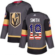 Wholesale Cheap Adidas Golden Knights #19 Reilly Smith Grey Home Authentic USA Flag Stitched Youth NHL Jersey