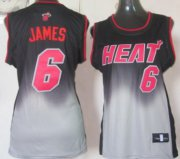 Wholesale Cheap Miami Heat #6 LeBron James Black/Gray Fadeaway Fashion Womens Jersey