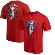 Wholesale Cheap Los Angeles Angels #27 Mike Trout Majestic 2019 Spring Training Big & Tall Name & Number T-Shirt Red
