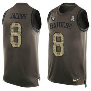 Wholesale Cheap Nike Raiders #8 Josh Jacobs Green Men's Stitched NFL Limited Salute To Service Tank Top Jersey