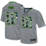 Wholesale Cheap Nike Seahawks #12 Fan New Lights Out Grey Men's Stitched NFL Elite Jersey