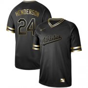 Wholesale Cheap Nike Athletics #24 Rickey Henderson Black Gold Authentic Stitched MLB Jersey