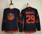 Wholesale Cheap Youth Edmonton Oilers #29 Leon Draisaitl Navy Blue 50th Anniversary Adidas Stitched NHL Jersey