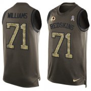 Wholesale Cheap Nike Redskins #71 Trent Williams Green Men's Stitched NFL Limited Salute To Service Tank Top Jersey