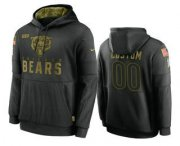 Wholesale Cheap Men's Chicago Bears Custom Black 2020 Salute to Service Sideline Performance Pullover Hoodie