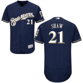 Wholesale Cheap Brewers #21 Travis Shaw Navy Blue Flexbase Authentic Collection Stitched MLB Jersey
