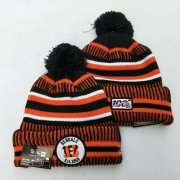 Wholesale Cheap Bengals Team Logo Orange 100th Season Pom Knit Hat YD