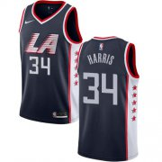 Wholesale Cheap Men's Clippers 34 Tobias Harris Navy 2018-19 City Edition Nike Swingman Jersey