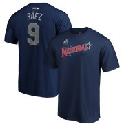 Wholesale Cheap National League #9 Javier Baez Majestic 2019 MLB All-Star Game Name & Number T-Shirt - Navy