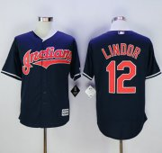 Wholesale Cheap Indians #12 Francisco Lindor Navy Blue New Cool Base Stitched MLB Jersey
