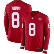 Wholesale Cheap Nike 49ers #8 Steve Young Red Team Color Men's Stitched NFL Limited Therma Long Sleeve Jersey