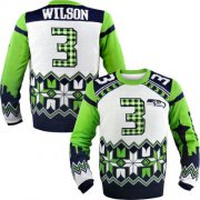 Wholesale Cheap Nike Seahawks #3 Russell Wilson White Men's Ugly Sweater