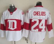 Wholesale Cheap Red Wings #24 Chris Chelios White Winter Classic CCM Throwback Stitched NHL Jersey