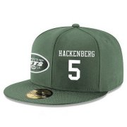 Wholesale Cheap New York Jets #5 Christian Hackenberg Snapback Cap NFL Player Green with White Number Stitched Hat