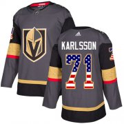Wholesale Cheap Adidas Golden Knights #71 William Karlsson Grey Home Authentic USA Flag Stitched NHL Jersey