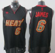 Wholesale Cheap Miami Heat #6 LeBron James All Black With Orange Fashion Jersey